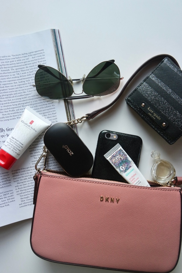 Iphone 6, Zolo Liberty +, DKNY pink crossbody bag, Kate Spade wallet, Ray Ban Aviator Sunglasses