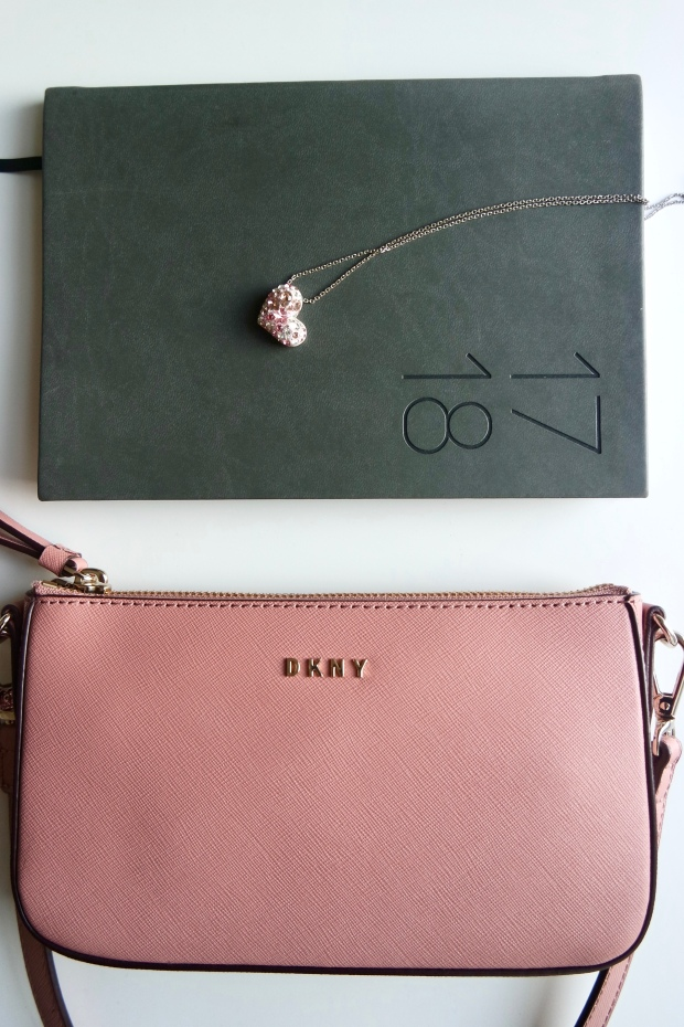 DKNY Crossbody pink bag, Paperchase diary, swarovski heart necklace