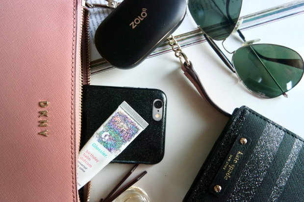 DKNY Crossbody pink bag, Kate Spade SERENADE HAVEN LANE BLACK GLITTER STRIPE WALLET, zolo liberty +, ray ban aviator sunglesses, glossier balm dotcom