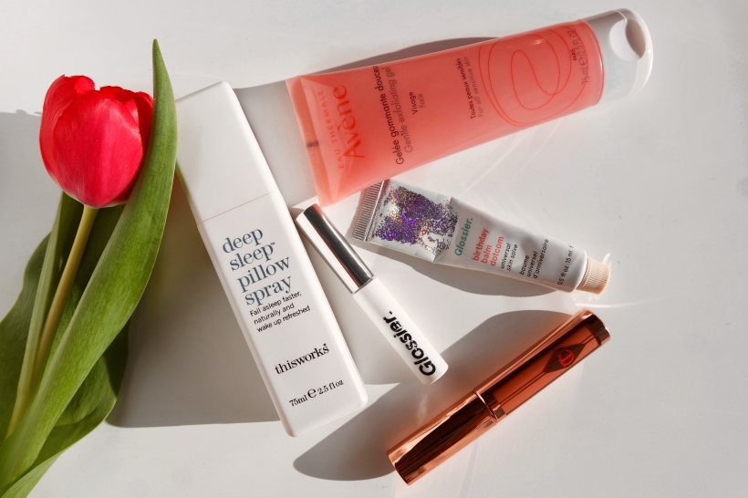 recent favourites, Glossier balm dotcom, glossier boybrow, avene gentle exfoliating gel, this works deep sleep pillow spray, charlotte tilbury hollywood lips