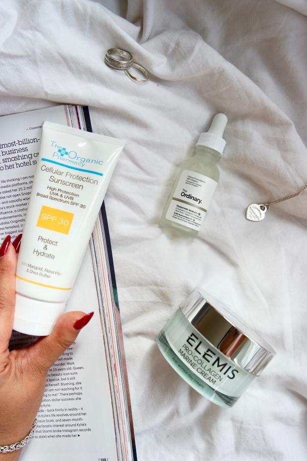 The Organic Pharmacy Cellular Protection Sun Cream, The ordinary HA + B5, Elemis Pro-collagen marine cream