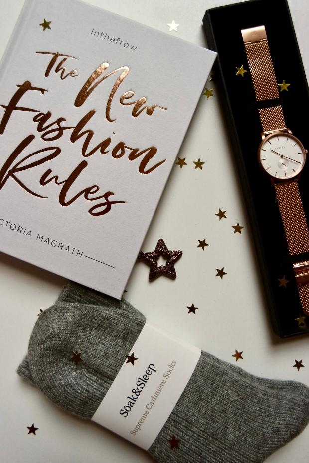 The New Fashion Rules book, Rose Gold Kartel Scotlanf Watch & Soak & Sleel Cashmere socks Christmas Gifts